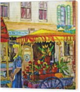 The Flowercart Wood Print by Carole Spandau