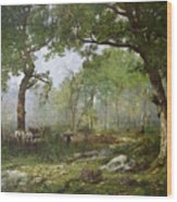 The Forest Of Fontainebleau Wood Print by Leon Richet