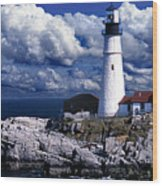 The Front At Portland Head Wood Print by Skip Willits