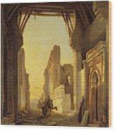 The Gates Of El Geber In Morocco Wood Print by Francois Antoine Bossuet
