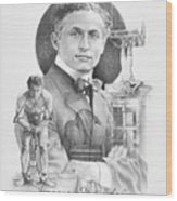 The Great Houdini Wood Print by Steven Paul Carlson