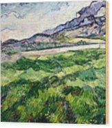 The Green Wheatfield Behind The Asylum Wood Print by Vincent van Gogh