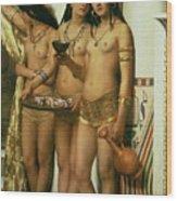 The Handmaidens Of Pharaoh Wood Print by John Collier