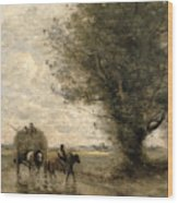 The Haycart Wood Print by Jean Baptiste Camille Corot