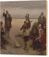 The Landing Of The Pilgrim Fathers Wood Print by George Henry Boughton