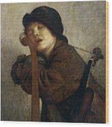 The Little Violinist Sleeping Wood Print by Antoine Auguste Ernest Hebert