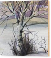 The Lone Tree Wood Print by Mindy Newman