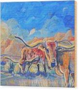 The Longhorns Wood Print by Jenn Cunningham