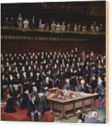 The Lord Chancellor About To Put The Question In The Debate About Home Rule In The House Of Lords Wood Print by English School