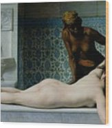The Massage Wood Print by Edouard Debat-Ponsan