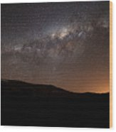 The Milky Way Setting Behind The Hills Wood Print by Luis Argerich