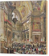 The Miracle Of The Liquefaction Of The Blood Of Saint Januarius Wood Print by Giacinto Gigante
