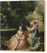 The Music Lesson Wood Print by Francois Boucher