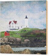 The Nubble Wood Print by Darren Fisher