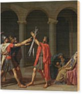 The Oath Of Horatii Wood Print by Jacques Louis David