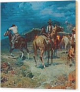 The Pony Express Wood Print by Frank Tenney Johnson