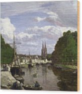 The Port At Quimper Wood Print by Eugene Louis Boudin