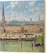 The Port At Rouen Wood Print by Torello Ancillotti