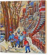 The Red Staircase Painting By Montreal Streetscene Artist Carole Spandau Wood Print by Carole Spandau
