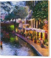The River Walk Wood Print by Lisa  Spencer