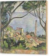 The Sea At L Estaque Wood Print by Paul Cezanne