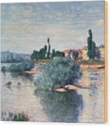 The Seine At Lavacourt Wood Print by Claude Monet