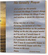 The Serenity Prayer Wood Print by Barbara Snyder