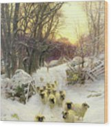The Sun Had Closed The Winter's Day  Wood Print by Joseph Farquharson
