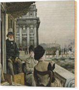 The Terrace Of The Trafalgar Tavern Greenwich Wood Print by James Jacques Joseph Tissot