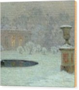The Trianon Under Snow Wood Print by Henri Eugene Augustin Le Sidaner