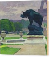 The Trocadero Gardens And The Rhinoceros Wood Print by Jules Ernest Renoux