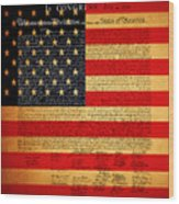 The United States Declaration Of Independence - American Flag - Square Wood Print by Wingsdomain Art and Photography