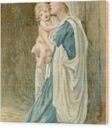 The Virgin Mary With Jesus Wood Print by John Lawson