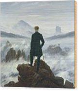The Wanderer Above The Sea Of Fog Wood Print by Caspar David Friedrich