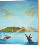 The Whales Of Maui Wood Print by Jerome Stumphauzer