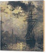 The Windmills In Rotterdam Wood Print by Johan Barthold Jongkind
