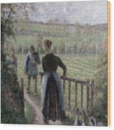 The Woman With The Geese Wood Print by Camille Pissarro