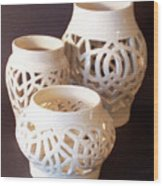 Three Interlaced Design Wheel Thrown Pots Wood Print by Carolyn Coffey Wallace