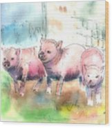 Three Little Pigs Wood Print by Arline Wagner