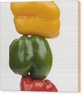 Three Peppers Wood Print by Bernard Jaubert