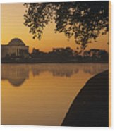 Tidal Basin And Jefferson Memorial Wood Print by Kenneth Garrett