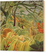 Tiger In A Tropical Storm Wood Print by Henri Rousseau