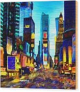 Times Square Wood Print by Andrea Meyer