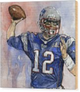 Tom Brady Wood Print by Michael  Pattison