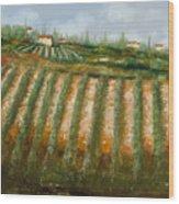 Tra I Filari Nella Vigna Wood Print by Guido Borelli