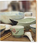 Traditional Chinese Dinner Table Wood Print by Yali Shi