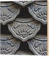 Traditional Korean Roof Tiiles Wood Print by Alex Barlow