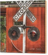 Train - Yard - Railroad Crossing Wood Print by Mike Savad