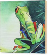 Tree Frog Eats Bugs Wood Print by Jo Lynch