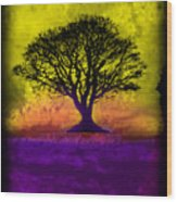 Tree Of Life - Yellow Sunburst Sky Wood Print by Robert R Splashy Art